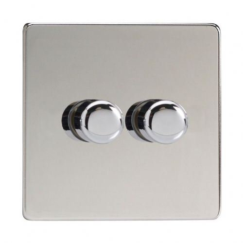 Varilight JDCP252S Screwless Polished Chrome 2 Gang 2-Way Push-On/Off LED Dimmer 0-120W V-Pro